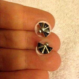 Jewelry - Sterling Black Onyx Fan Studs